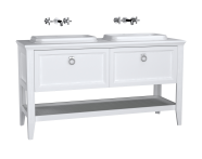62210 - Valarte Washbasin Unit, 150 cm, 2 drawers, with countertop washbasin, Matte White, with double washbasin