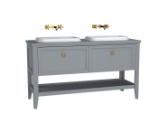 62211 - Valarte Washbasin Unit, 150 cm, 2 drawers, with countertop washbasin, Matte Grey, with double washbasin