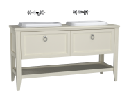 62212 - Valarte Washbasin Unit, 150 cm, 2 drawers, with countertop washbasin, Matte Ivory, with double washbasin