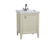 62261 - Valarte Washbasin Unit, 65 cm, with doors, with vanity washbasin, one faucet hole, Matte Ivory, right