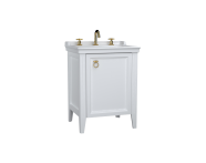 62262 - Valarte Washbasin Unit, 65 cm, with doors, with vanity washbasin, three faucet holes, Matte White, right