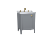62263 - Valarte Washbasin Unit, 65 cm, with doors, with vanity washbasin, three faucet holes, Matte Grey, right