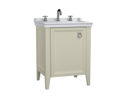 62264 - Valarte Washbasin Unit, 65 cm, with doors, with vanity washbasin, three faucet holes, Matte Ivory, right