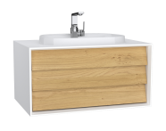 62286 - Frame Washbasin Unit, 80 cm, with 1 drawer, with countertop TV-shape washbasin, with faucet hole, Matte White