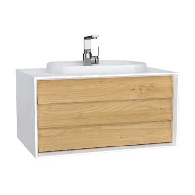 Frame Washbasin Unit, 80 cm, with 1 drawer, with countertop TV-shape washbasin, with faucet hole, Matte White