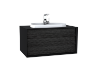 62287 - Frame Washbasin Unit, 80 cm, with 1 drawer, with countertop TV-shape washbasin, with faucet hole, Matte Black