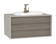 62288 - Frame Washbasin Unit, 80 cm, with 1 drawer, with countertop TV-shape washbasin, with faucet hole, Matte Taupe