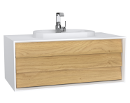 62289 - Frame Washbasin Unit, 100 cm, with 1 drawer, with countertop TV-shape washbasin, with faucet hole, Matte White