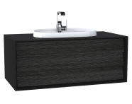 62290 - Frame Washbasin Unit, 100 cm, with 1 drawer, with countertop TV-shape washbasin, with faucet hole, Matte Black