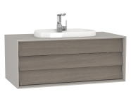 62291 - Frame Washbasin Unit, 100 cm, with 1 drawer, with countertop TV-shape washbasin, with faucet hole, Matte Taupe