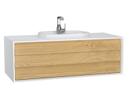 62292 - Frame Washbasin Unit, 120 cm, with 1 drawer, with countertop TV-shape washbasin, with faucet hole, Matte White