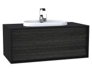 62293 - Frame Washbasin Unit, 120 cm, with 1 drawer, with countertop TV-shape washbasin, with faucet hole, Matte Black