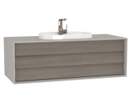 62294 - Frame Washbasin Unit, 120 cm, with 1 drawer, with countertop TV-shape washbasin, with faucet hole, Matte Taupe