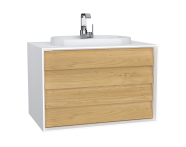 62295 - Frame Washbasin Unit, 80 cm, with 2 drawers, with countertop TV-shape washbasin, with faucet hole, Matte White