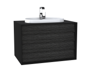 62296 - Frame Washbasin Unit, 80 cm, with 2 drawers, with countertop TV-shape washbasin, with faucet hole, Matte Black