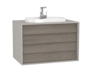 62297 - Frame Washbasin Unit, 80 cm, with 2 drawers, with countertop TV-shape washbasin, with faucet hole, Matte Taupe
