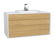 62298 - Frame Washbasin Unit, 100 cm, with 2 drawers, with countertop TV-shape washbasin, with faucet hole, Matte White