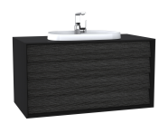 62299 - Frame Washbasin Unit, 100 cm, with 2 drawers, with countertop TV-shape washbasin, with faucet hole, Matte Black