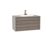 62300 - Frame Washbasin Unit, 100 cm, with 2 drawers, with countertop TV-shape washbasin, with faucet hole, Matte Taupe