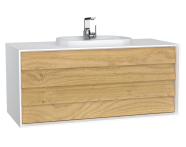 62301 - Frame Washbasin Unit, 120 cm, with 2 drawers, with countertop TV-shape washbasin, with faucet hole, Matte White
