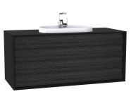 62302 - Frame Washbasin Unit, 120 cm, with 2 drawers, with countertop TV-shape washbasin, with faucet hole, Matte Black
