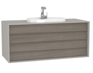 62303 - Frame Washbasin Unit, 120 cm, with 2 drawers, with countertop TV-shape washbasin, with faucet hole, Matte Taupe