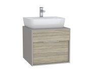 63630 - Integra Washbasin Unit, 60 cm, with 1 drawer, for countertop basins, with 53 cm depth, with U-cut, White High Gloss & Bamboo