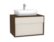 63633 - Integra Washbasin Unit, 80 cm, with 1 drawer, for countertop basins, with 53 cm depth, with U-cut, White High Gloss & Bamboo