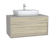 63636 - Integra Washbasin Unit, 100 cm, with 1 drawer, for countertop basins, with 53 cm depth, with U-cut, White High Gloss & Bamboo
