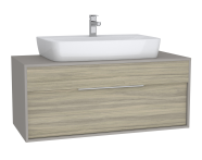 63639 - Integra Washbasin Unit, 120 cm, with 1 drawer, for countertop basins, with 53 cm depth, with U-cut, White High Gloss & Bamboo, middle