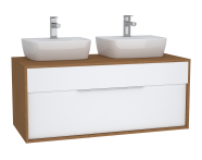 63642 - Integra Washbasin Unit, 120 cm, with 1 drawer, for countertop basins, with 53 cm depth, with U-cut, White High Gloss & Bamboo, double