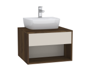 63645 - Integra Hotel Unit, 60 cm, for countertop basins, with 53 cm depth, with U-cut, White High Gloss & Bamboo