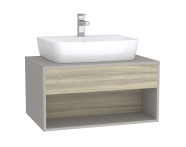 63648 - Integra Hotel Unit, 80 cm, for countertop basins, with 53 cm depth, with U-cut, White High Gloss & Bamboo