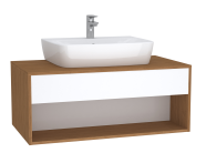 63651 - Integra Hotel Unit, 100 cm, for countertop basins, with 53 cm depth, with U-cut, White High Gloss & Bamboo