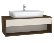 63654 - Integra Hotel Unit, 120 cm, for countertop basins, with 53 cm depth, with U-cut, White High Gloss & Bamboo, middle