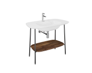 "64044 - ""Plural Washbasin Unit, 100 cm, with White Washbasin, American Walnut"""