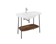 "64045 - ""Plural Washbasin Unit, 100 cm, with Matte White Washbasin, American Walnut"""