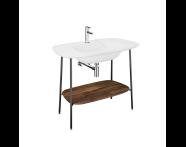 "64045 - ""Plural Washbasin Unit, 100 cm, with Matte White Washbasin, American Walnut"""