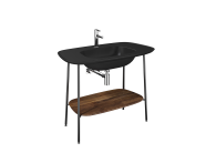 "64046 - ""Plural Washbasin Unit, 100 cm, with Matte Black Washbasin, American Walnut"""