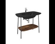 "64046 - ""Plural Washbasin Unit, 100 cm, with Matte Black Washbasin, American Walnut"""
