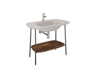 "64047 - ""Plural Washbasin Unit, 100 cm, with Matte Taupe Washbasin, American Walnut"""