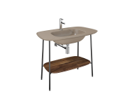 "64048 - ""Plural Washbasin Unit, 100 cm, with Matte Mink Washbasin, American Walnut"""
