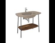 "64048 - ""Plural Washbasin Unit, 100 cm, with Matte Mink Washbasin, American Walnut"""