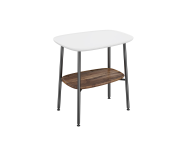 "64065 - ""Plural Small Table, 55 cm, with Matte White, American Walnut"""