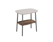 "64067 - ""Plural Small Table, 55 cm, with Matte Taupe, American Walnut"""