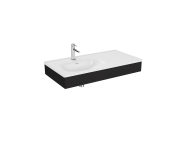 "64085 - ""Equal Washbasin Unit, 100 cm, with Asymmetric Washbasin, Patterned Black Oak"""