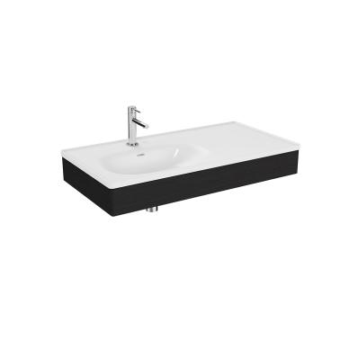 """""""Equal Washbasin Unit, 100 cm, with Asymmetric Washbasin, Patterned Black Oak"""""""