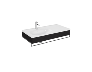 "64088 - ""Equal Washbasin Unit, 100 cm, with Asymmetric Washbasin, with Towel Holder, Patterned Black Oak"""