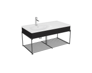 "64091 - ""Equal Washbasin Unit, 100 cm, with Asymmetric Washbasin, with Shelf, Patterned Black Oak"""