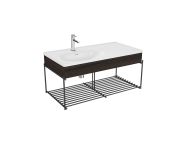 "64092 - ""Equal Washbasin Unit, 100 cm, with Asymmetric Washbasin, with Shelf, Elm"""